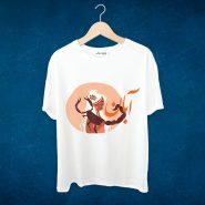 خرید اینترنتی تیشرت سفید آستین کوتاه و آستین بلند با طرح آبان ماه