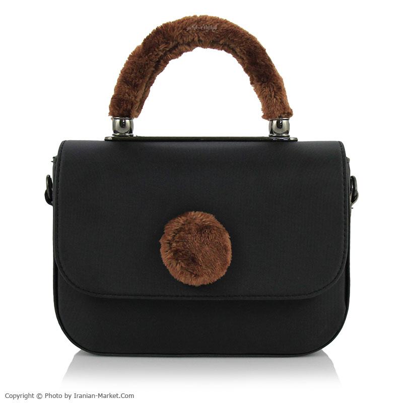 کیف دوشی زنانه خزدار رنگ مشکی